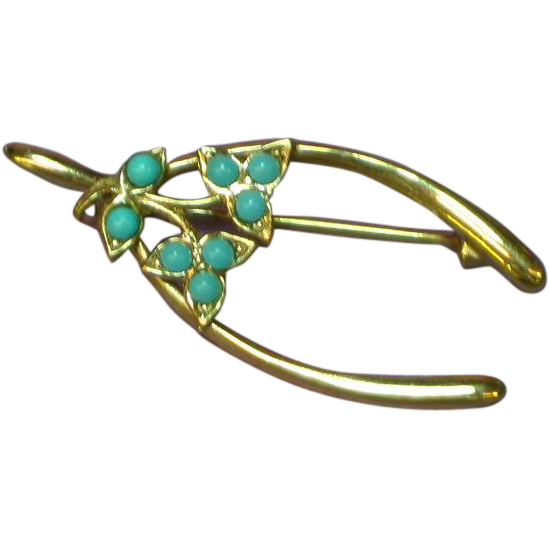Wishbone Figural Yellow Gold Tone Floral Spring  Pin Brooch