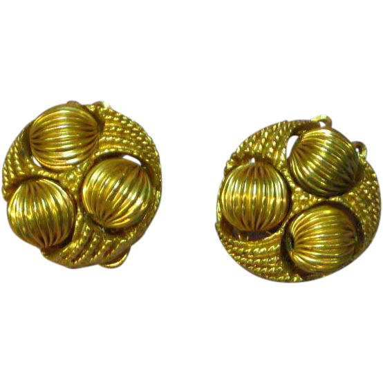 Fluted Gold -tone Beads and Heavy Gold Plate Clip Earrings