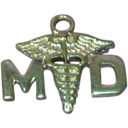 Medical MD Doctor Caduceus Sterling Silver Bracelet Charm Pendant