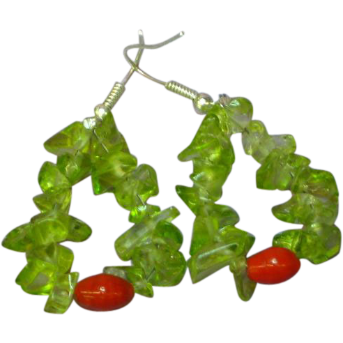 Gemstones Peridot and Red Czech Art Glass Beaded Pierced Earrings