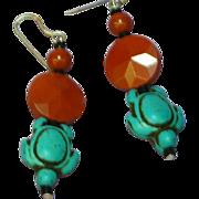 Southwestern Style Turtle and Pipe Stone Drop Pierced Earrings