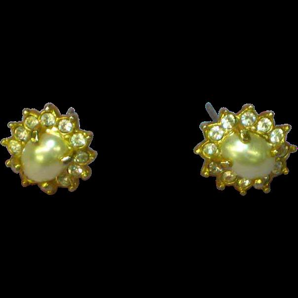 Rhinestones Faux Pearl Stud Pierced Earrings