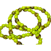 Millefiori Italian Glass African Yellow-Green Trade Bead Necklace