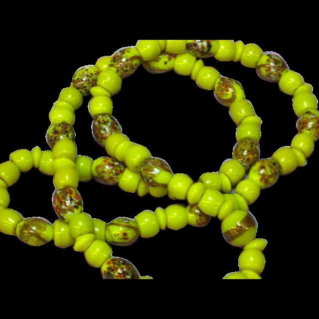 Millefiori Italian Glass African Yellow-Green Trade Bead Necklace