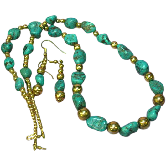 Stunning Kingman Mine Natural Turquoise & Gold Filled Bead Necklace Pierced Earrings Set Demi Parure