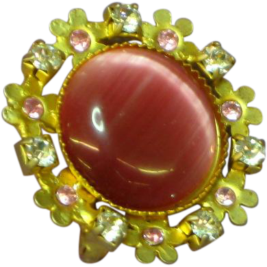 Art Glass Cats Eye Cabochon Rhinestones Czechoslovakian Pin Brooch