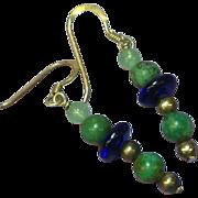 Turquoise Jade Cobalt Blue Glass Bead Sterling Silver Dangle Drop Pierced Earrings