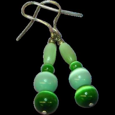 Art Glass Vintage Cats Eye Drop Dangle Pierced Earrings