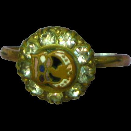 Rebekah Organization of the Odd Fellows Paste Stones 14K RGP Ring