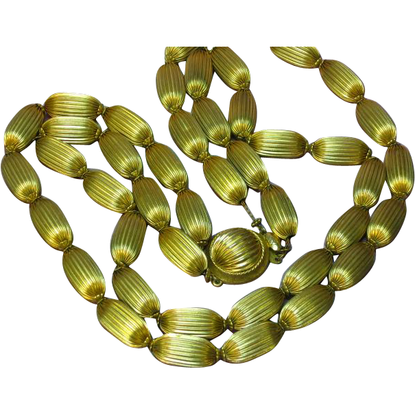 10K Gold Filled Fluted Beads Double Strand Necklace