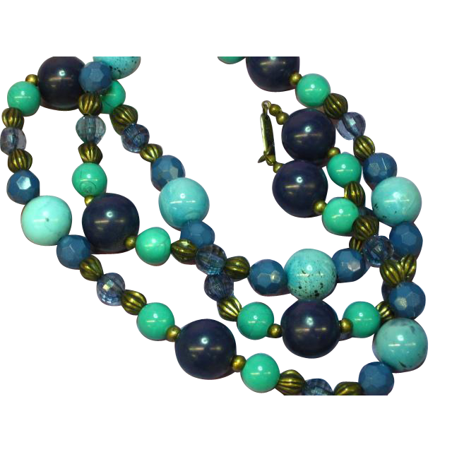 Miriam Haskell Lucite Lapis Faux Turquoise Brass Bead  Necklace