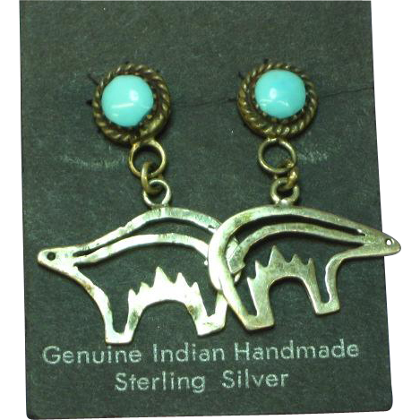 Native American Signed Sterling Silver Turquoise Figural Bear Pierced Earrings