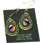 Native American Zuni Inlay Coral Turquoise Lapis Spiny Oyster MOP Sterling Silver Dangle Pierced Earrings