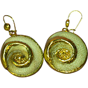 14K Gold Dipped  Sea Shell Charm Pierced Earrings