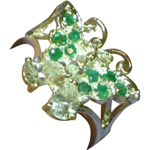 Genuine Emerald Sterling Silver CZ  Butterfly Figural Ring