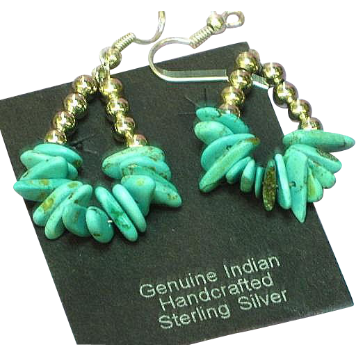 Native American Sterling Silver Turquoise Dangle  Drop Pierced Earrings