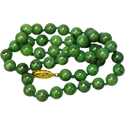 "Jade Green Nephrite Beaded Hand Knotted Jade 14K Yellow Gold Plate Clasp 17"" Necklace"