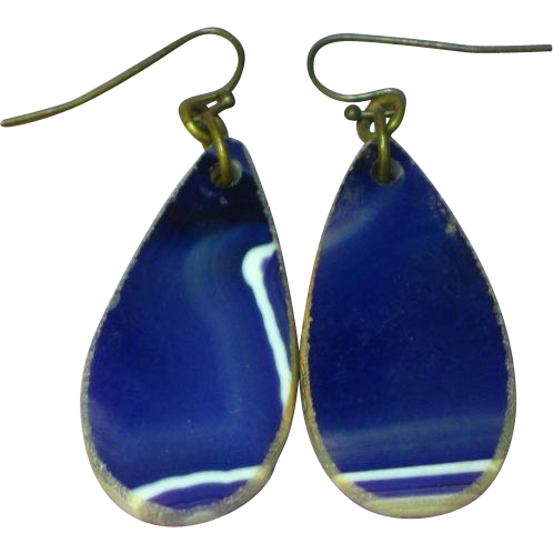 Gemstones Blue Quartz Slab Drop Pierced Earrings