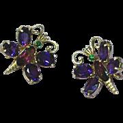 Amethyst Sterling Silver Marked Butterfly Clip Earrings