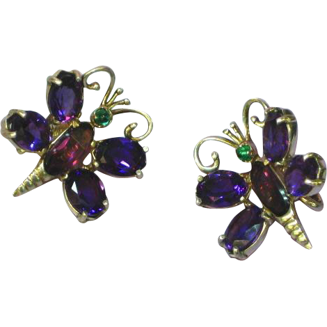 Amethyst Sterling Silver Marked Butterfly Clip Earrings