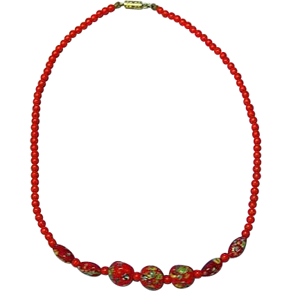 Millefiori Graduated Bead  Chinese Red 1920s Deco Necklace