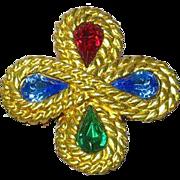 Rhinestones Crystal Gold tone Maltese Cross Pin Brooch