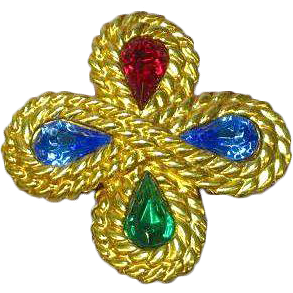 Rhinestones Crystal Gold tone Maltese Cross Pin Brooch