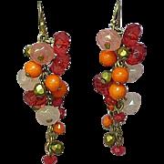 Art Glass Bead Fringed Dangle Pierced Earrings