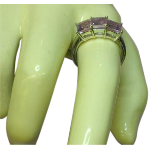 Sterling Silver Rhodium Plate Step Cut Princess Amethyst Ring