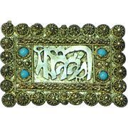 India 900 Silver Persian Turquoise Pin Brooch