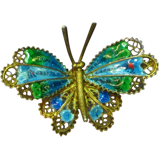 Enamel Beautiful Vintage 800 Silver Vermeil Chinese Butterfly Pin Brooch