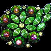 Rhinestones Margarita Rivoli Heliotrope Japaned Green Brooch Pin