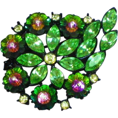 Rhinestones Margarita Rivoli Heliotrope Japaned Green Brooch Pin