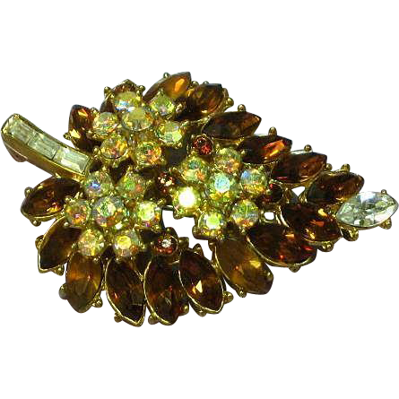 Crown Trifari Golden Topaz Rhinestone Pin Brooch