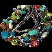Native American Indian Mixed Stone Three Strand Heshi Fetish Necklace