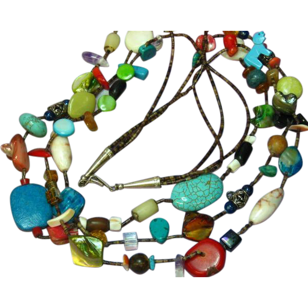 Native American Indian Mixed Stone Three Strand Heishi Fetish Necklace