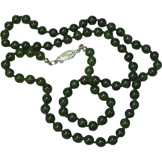 Jade Green Nephrite Beaded Hand Knotted Jade Sterling Silver Clasp Necklace