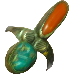 Native American Indian Sterling Silver,Turquoise Coral Ring