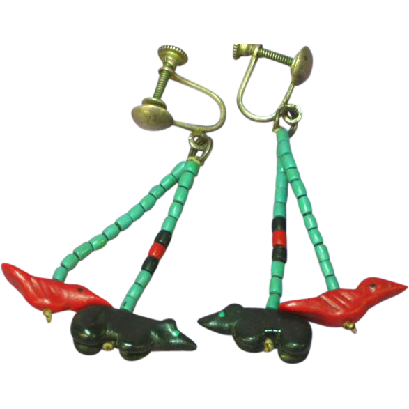 Native American Indian Navajo/Pueblo Turquoise Coral Jet Fetish Earrings