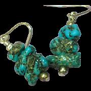 Gemstones Natural Bisbee Turquoise Nugget Sterling Silver Pierced Dangle Earrings