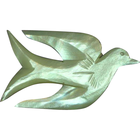Carved Mother of Pearl Bird Peace Dove Figural Pin Brooch