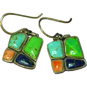 Gemstones Turquoise Gaspeite Lapis Spiney Oyster Sterling Silver Pierced Dangle Earrings