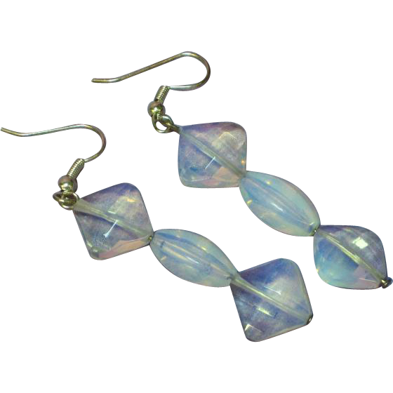 Opalescent Opalite Opaline Faceted Glass Dangle Sterling Silver Pierced Earrings