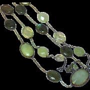 Vintage Natural Yellow Jadeite Jade Labradorite Lemon Quartz Long Necklace