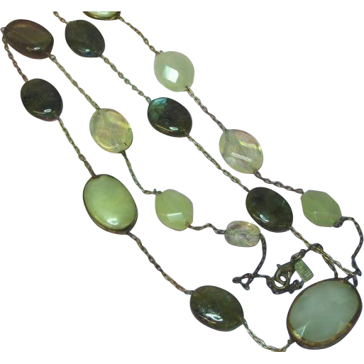 Vintage Natural Yellow Jadeite Jade Labradorite Lemon Quartz Long Necklace