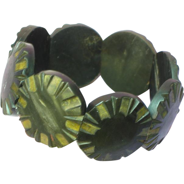 Exotic Wood Carved Disc Dimensional Panel Stretch Bracelet