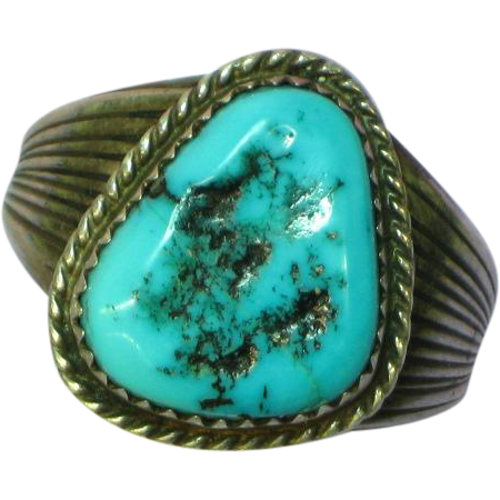 Native American Indian Turquoise Massive Man Sterling Silver Ring