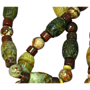 Natural Stone Red Poppy Jasper Indian Agate Carved Barrel Transvaal Jade Beaded Necklace