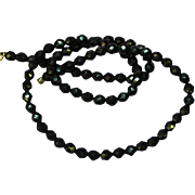 Czech Faceted Black Glass Bead Gold filled Clasp Necklace