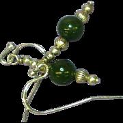 Jade Sterling Silver Dangle Pierced Earrings